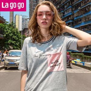 【618大促-每满100减50】Lagogo2017年秋季新款字母印花修身纯色上衣中长款圆领短袖T恤女