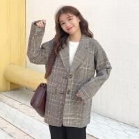 春季新款韩版chic小西装外套女士休闲复古撞色格子长袖上衣潮学生