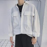 2018春季新款日系纯色大口袋男生日系长袖衬衫潮流宽松青少年衬衣