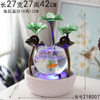 创意客厅小型金鱼缸超白玻璃圆形小鱼缸办公室桌面陶瓷生态迷你缸