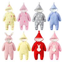 女婴儿连体衣服秋冬季0岁3个月1宝宝冬装6新生儿套装加绒加厚棉衣