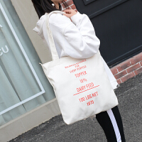 韩版帆布手提包新款复古印花文字休闲学院单肩托特女包