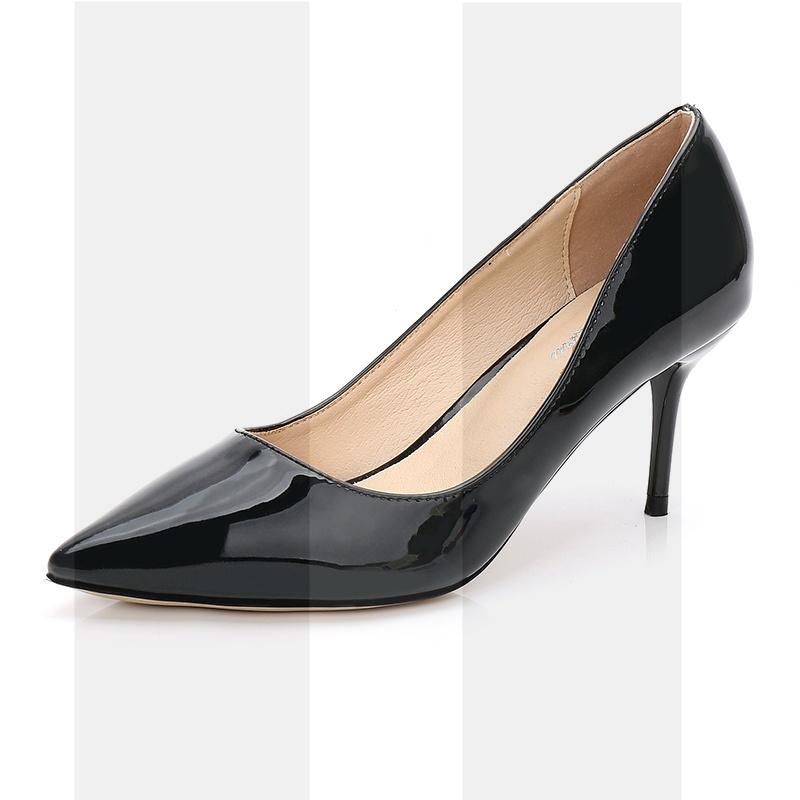 高跟鞋女细跟2018秋冬新款性感百搭黑色职业漆皮尖头单鞋红色婚鞋SN9798