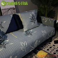 四季通用全棉沙发垫布艺客厅现代简约防滑坐垫子罩巾盖套 军绿色 水菊