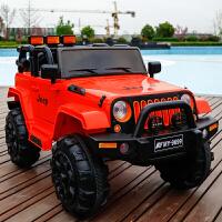儿童电动车越野四轮玩具车可坐人宝宝带遥控小汽车小孩摇摆儿童车HMTC 红色 所有功能+充气轮