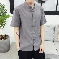中国风复古衬衣短袖男唐装青年修身中式盘扣T恤汉服中山装夏天潮