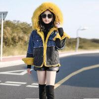 冬季少女真毛领牛仔衣外套2018新款初中学生学院风宽松上衣韩版潮