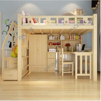 zuczug多功能高架床组合套床房高低床上床下桌实木梯柜小型户 原木 高架床+梯柜+书桌+衣柜