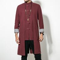 秋冬季中国风唐装青年长衫中式男装居士服长袍汉服古风禅修服外套