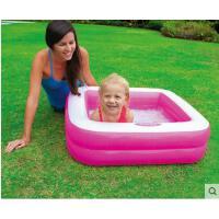 方形泳池简约小孩充气底 浴盆沙池家庭游泳双层方形婴儿戏水池