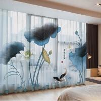 酒店餐厅茶馆窗纱定制落地窗飘窗轨道窗帘布艺成品