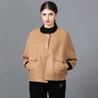 毛呢外套女短款冬季夹克小个子呢上衣2018新款保暖加厚棒球服
