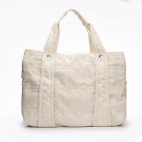 手提包女大包韩版妈咪包母婴包尼龙多功能大号大容量手拎旅游包袋 米白色 米白色