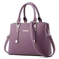 女包妈妈包大气中年女士手提包简约单肩斜挎大包包女 香芋紫