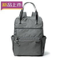2018时尚双肩包户外旅行包大容量帆布包休闲尼龙背包学生书包 灰色