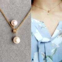 手工原创天然珍珠双珠项链14k包金防过敏保色吊坠项链锁骨链