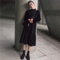 冬装新款韩版chic时尚百搭丝绒半高领显瘦连衣裙女装学生裙子