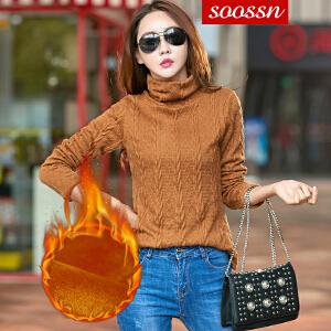 SOOSSN 2018新款秋冬毛衣韩版女士套头纯色长袖针织衫高领加厚打底衫 6110