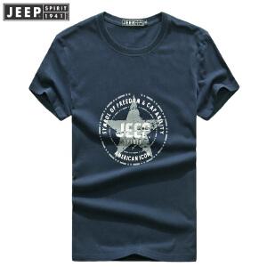 夏装新款吉普JEEP 纯棉大码宽松休闲男T恤衫 CHH64薄款polo衫圆领