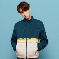 【2件2.5折到手价:67.3】美特斯邦威夹克男秋季新款时尚休闲韩版拼色立领开衫外套