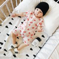 婴儿外出服夏季装条纹短袖哈衣爬服新生儿衣服幼儿宝宝连体衣
