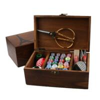 家用木质针线盒 缝纫套装 旅行便携针线收纳盒 手工DIY缝补工具