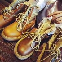 秋季新款真皮马丁靴女英伦风平底粗跟短靴学生单靴子机车靴