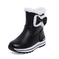 女童靴子2018冬季中大女童雪地靴加绒短靴女小女孩公主童鞋亲子鞋