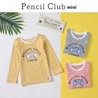 【秒杀价:29】铅笔俱乐部童装2020春装新款男童条纹T恤小童宝宝长袖t儿童打底衫