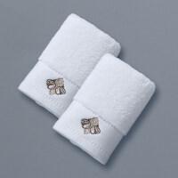 五星级酒店纯棉洗脸家用方巾擦手巾小毛巾洗脸加厚一对 金色绣线2条装