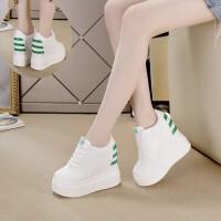秋冬季新款12cm内增高女鞋松糕小白鞋女韩版加绒超高跟厚底休闲鞋