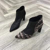 欧洲风格站2017秋季新款靴子女牛皮胎牛毛尖头粗跟套脚女靴韩版鞋
