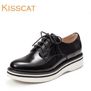 接吻猫深口单鞋圆头女鞋水晶牛皮厚底松糕鞋DA76120-51