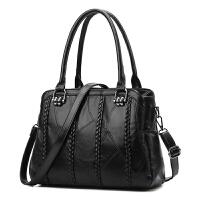 女包真皮手提包2017新款大包包拼接羊皮包大容量单肩包通勤百搭潮SN5489 黑色