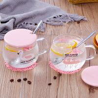 大容量马克杯女玻璃杯子牛奶麦片杯早餐燕麦杯咖啡大肚茶杯带盖勺