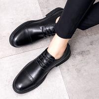 秋季男鞋英伦休闲鞋商务正装皮鞋男韩版潮流黑色内增高发型师鞋子