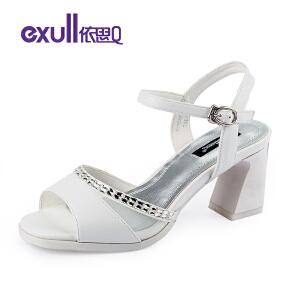 依思q新款凉鞋露趾夏高跟方跟粗跟网纱水钻装饰女鞋