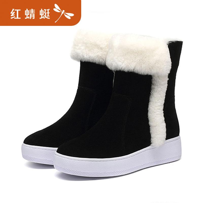 红蜻蜓女鞋 冬季新款正品保暖舒适厚底松糕底雪地靴棉鞋