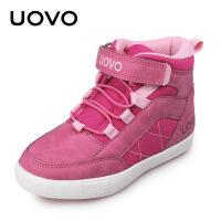 【1件3折�r:47元】UOVO 童鞋 秋季新款女童搭扣休�e鞋加�q棉鞋 中大�和�高��W生鞋 塞�S利��M