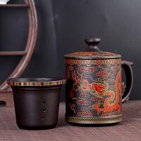 紫砂泡茶杯子带盖过滤家用 办公室茶水分离水杯 大容量陶瓷马克杯