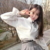 春季女装韩版新款白色衬衫上衣宽松灯笼袖系带打底衫长袖衬衣学生 均码