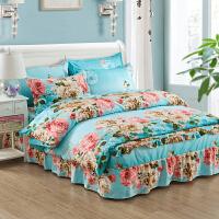 韩式棉田园公主风床裙四件套棉磨毛床上用品宿舍1.8m床单被套