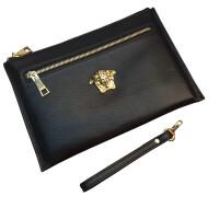 手包男美杜莎大容量商务手抓包软皮时尚韩版信封包钱包男士手拿包 黑色