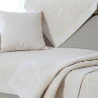 米白色纯色美式真皮沙发垫子巾套罩扶手靠背布艺四季仿棉麻亚麻 白色 方格,本白宽边款