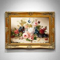 欧式花卉油画手绘现代简欧壁画客厅挂画玄关装饰画餐厅定制画 125*101 手工油画(15天发货)