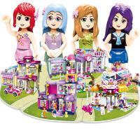 启蒙积木5女孩拼装玩具城市别墅公主屋城堡模型女童智力6-8-10岁