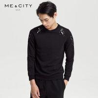 【1件2折到手价:99.8】MECITY男装秋季新款动物植绒印花圆领套头卫衣潮