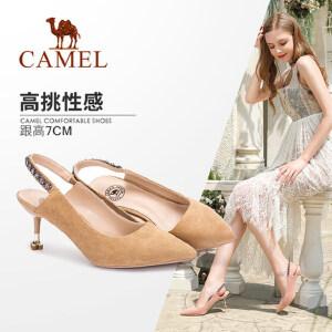 Camel/骆驼女鞋 2018春季新款 性感尖头高跟鞋水钻套脚浅口细跟单鞋女