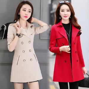 风轩衣度 长袖中长款时尚气质韩版简约双排扣风衣纯色2018年春季新款 1025