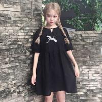 刺绣连衣裙女夏季新款韩版原宿风个性百搭宽松短袖A字小黑裙学生